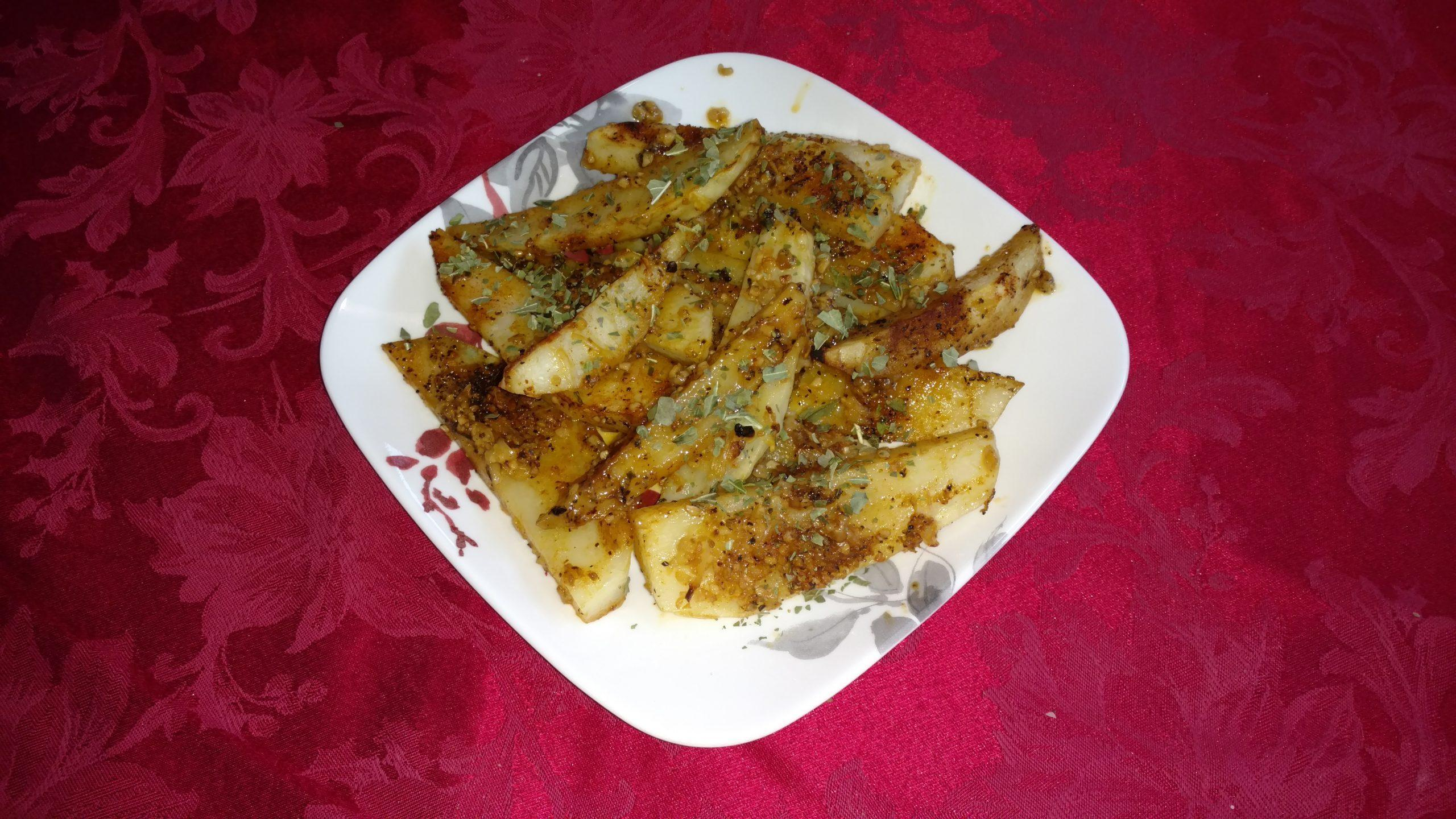 Roasted Potato Wedges on a Plate